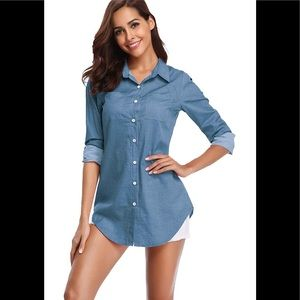 Chambray Button Down Shirt, Long Sleeve